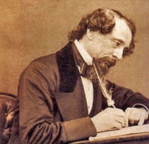 Charles Dickens as he writes.